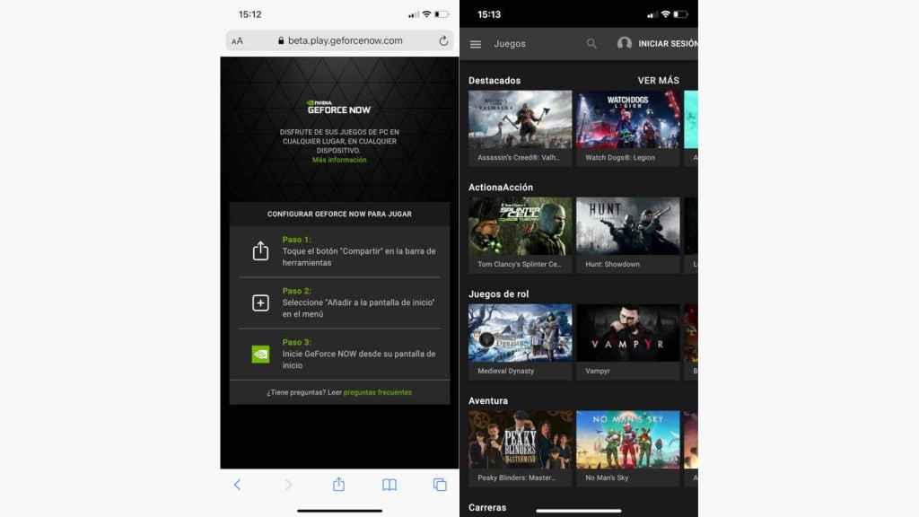 La nueva app GeForce Now para iPhone se consigue por la web