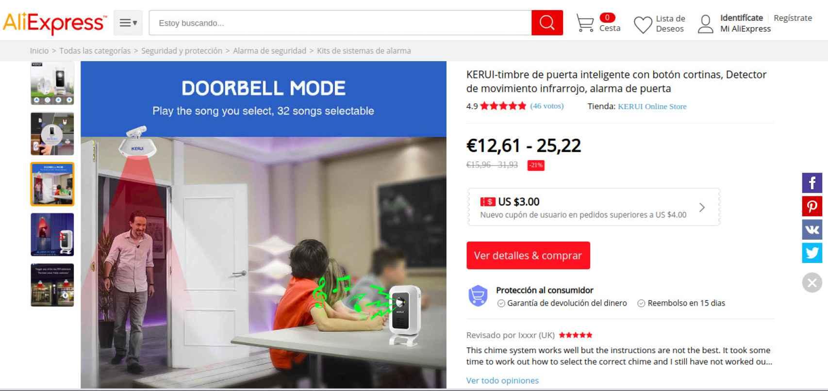 Captura del producto en la web de ventas.