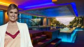 Adriana Abenia, junto al spa del MiM Sitges Hotel, en un fotomontaje de JALEOS.