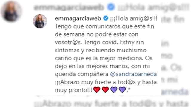 Emma García anuncia que tiene coronavirus