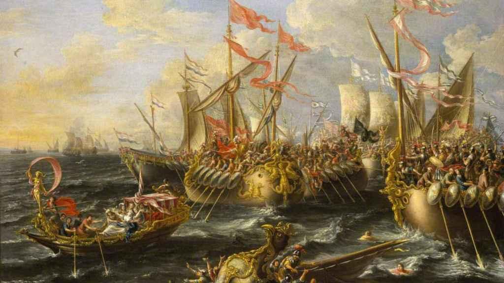 Lienzo de la batalla de Actium a cargo de Lorenzo a Castro.