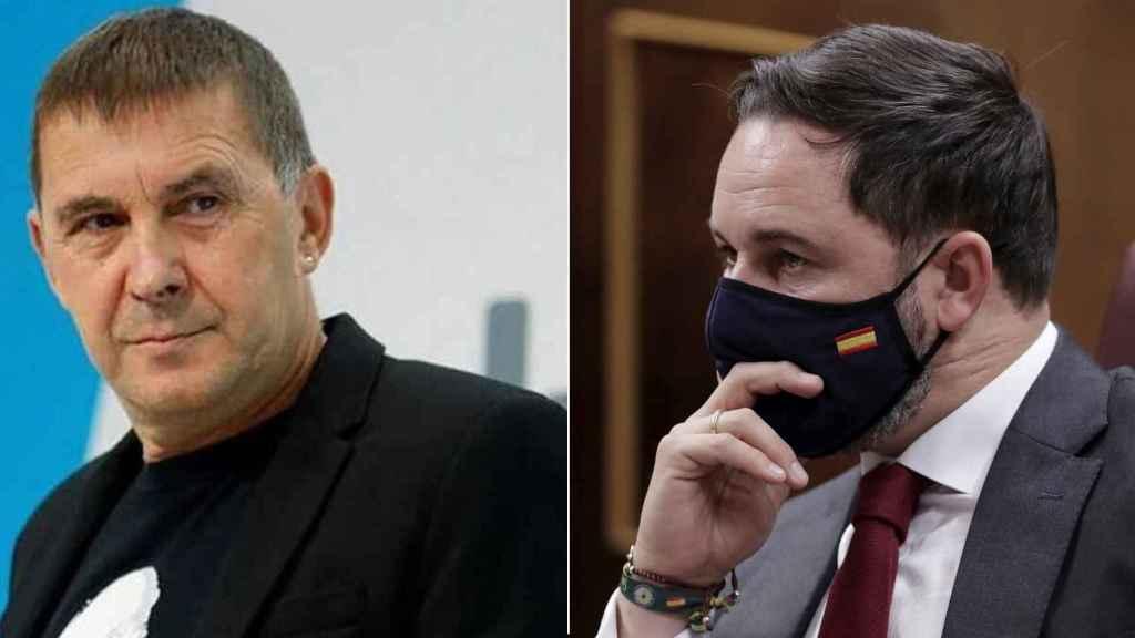 El dirigente de EH Bildu, Arnaldo Otegi, y el presidente de Vox, Santiago Abascal.