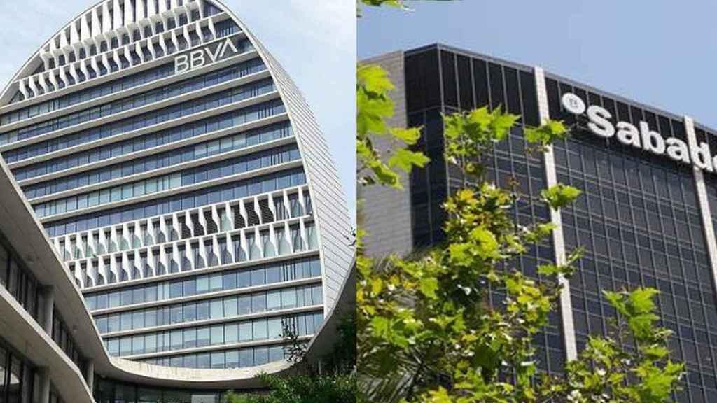 Montaje con las sedes de BBVA y Banco Sabadell.