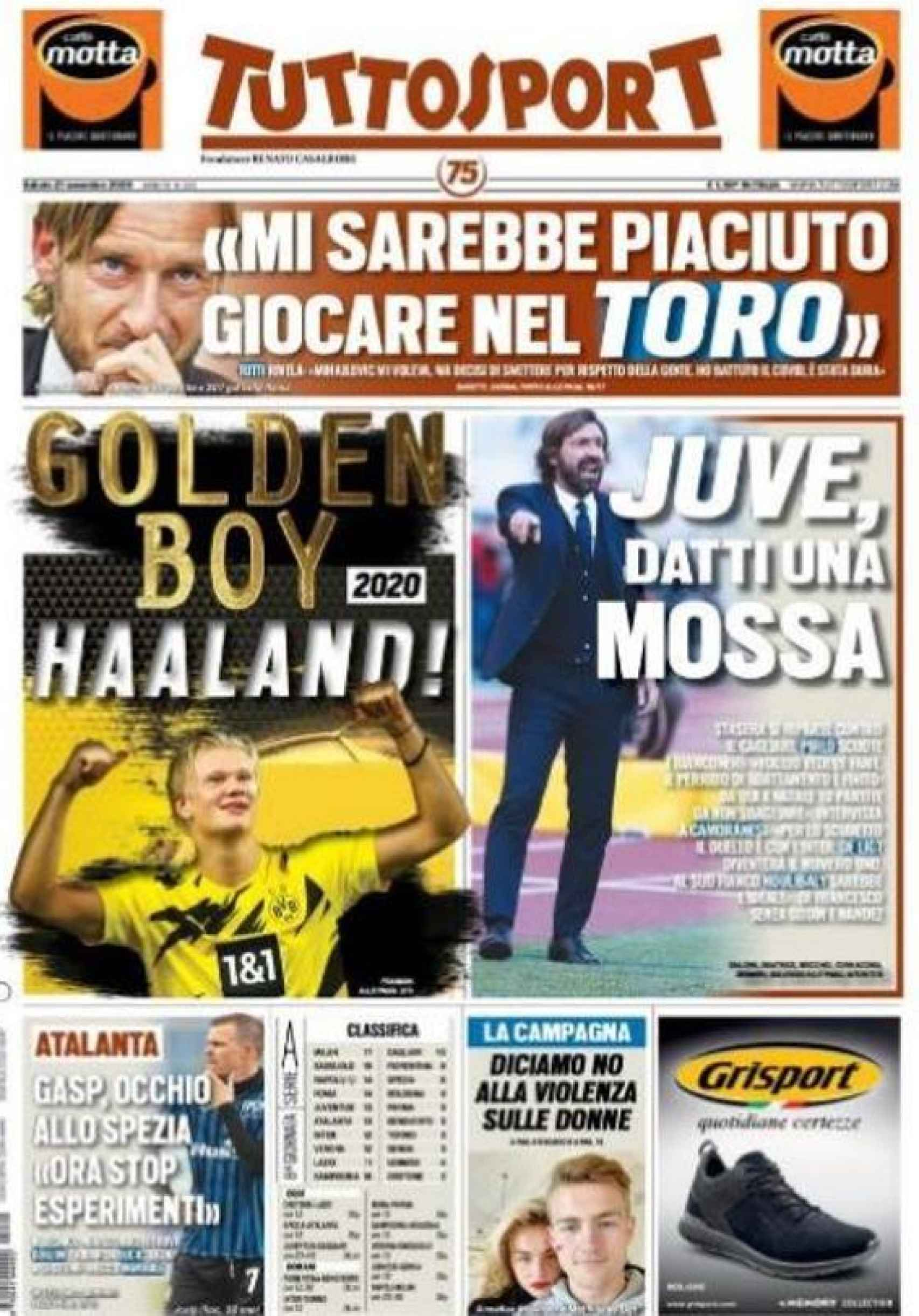 Portada de Tuttosport: Golden Boy 2020