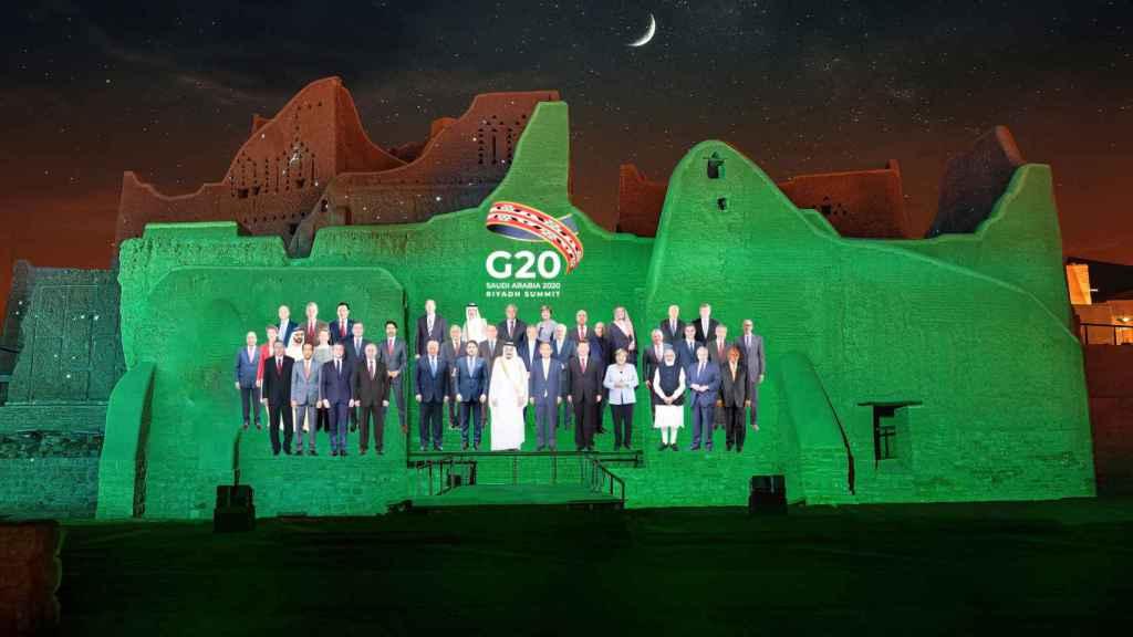 Composición de la foto de familia para la cumbre del G20 virtual en Arabia Saudí.