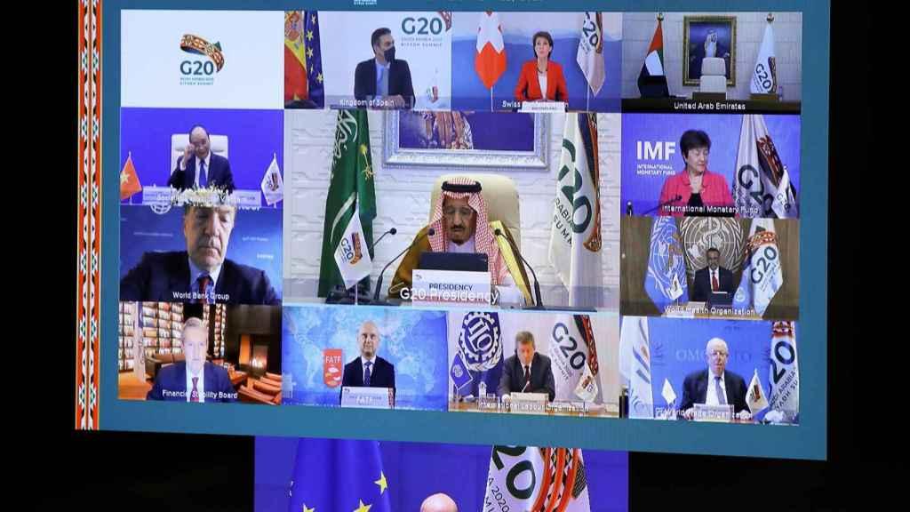 Charles Michel, en una de las reuniones virtuales del G20.
