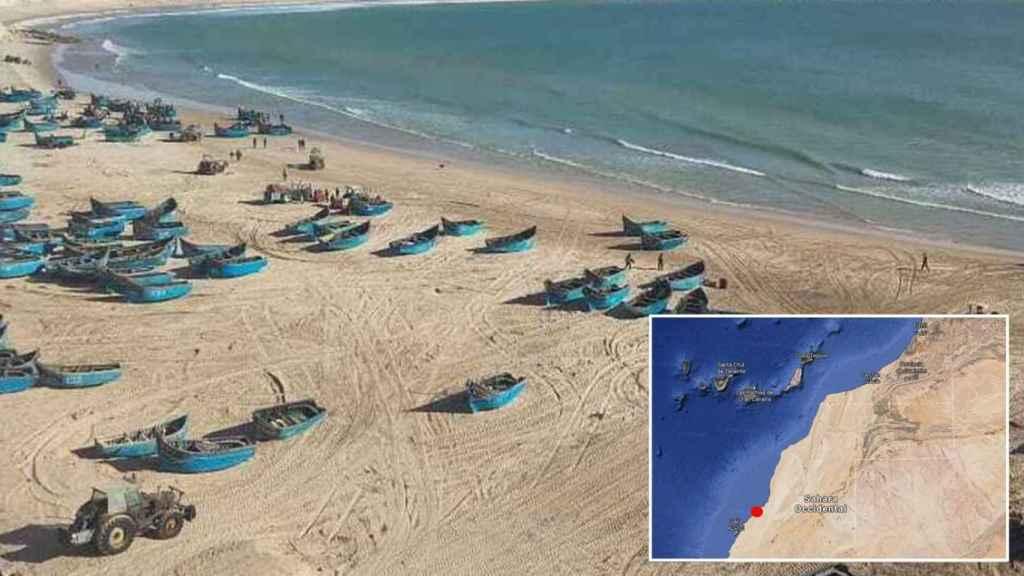 Playa a 65 kilómetros al norte de Dajla.
