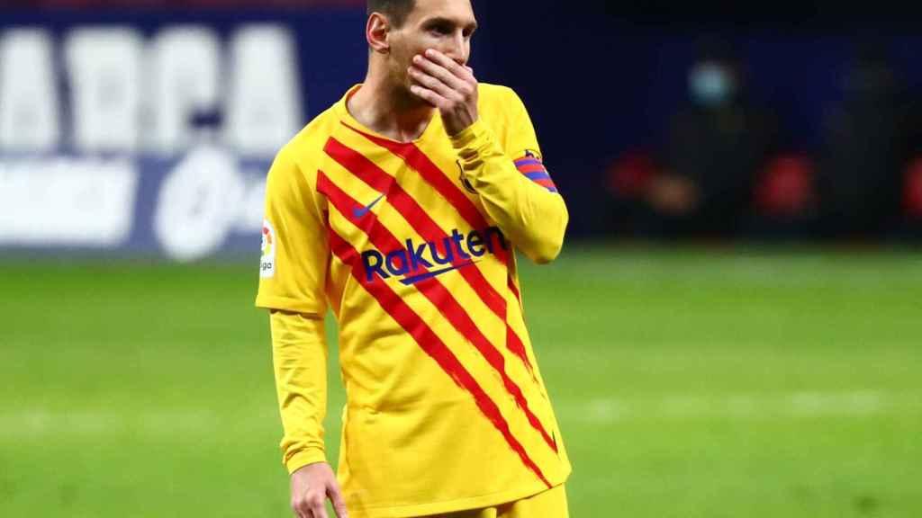 Leo Messi, en un momento del Atlético de Madrid - Barcelona de La Liga
