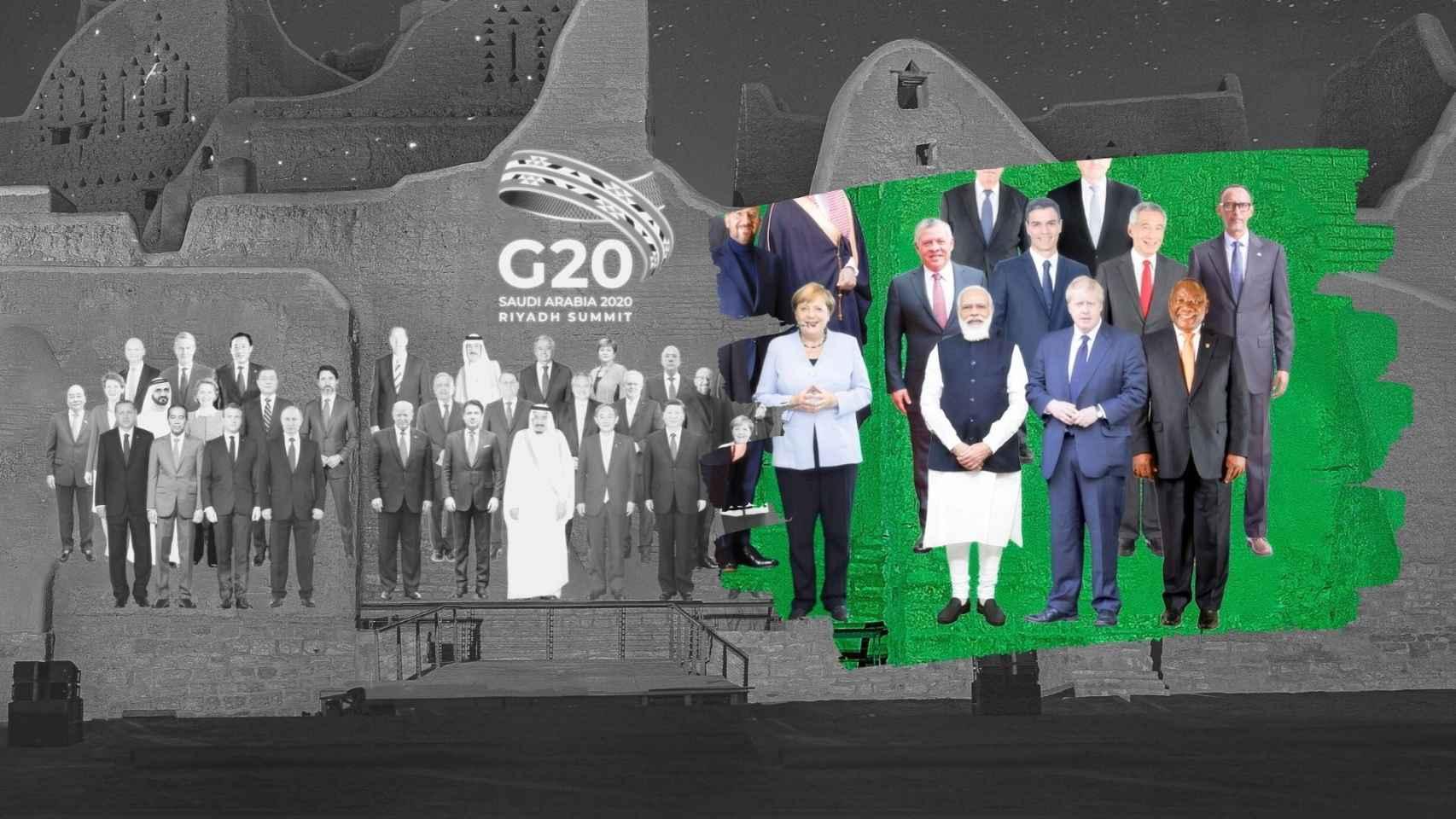 Pedro Sánchez sin piernas en la Cumbre del G20.