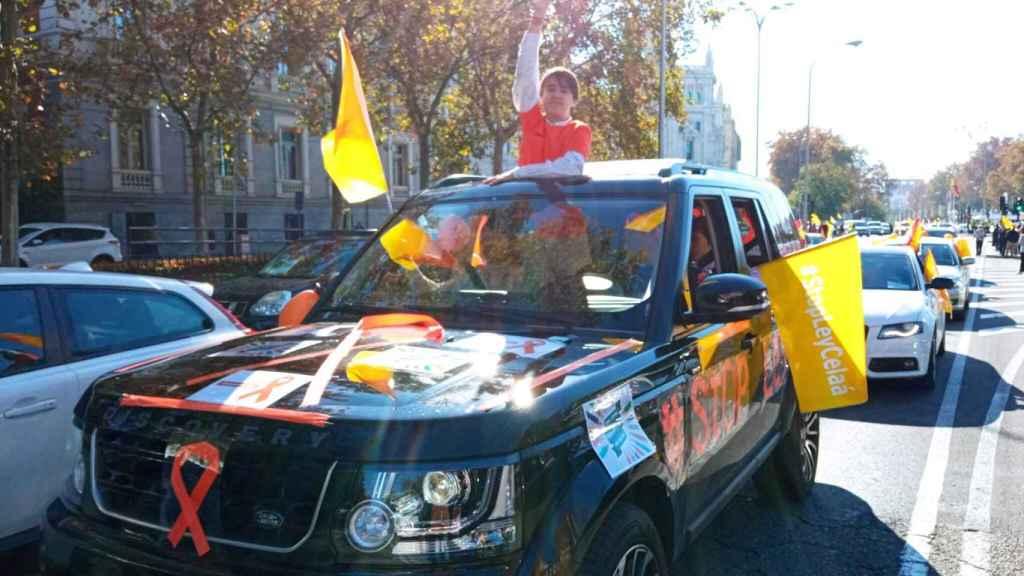 Un hombre se manifiesta en Madrid.