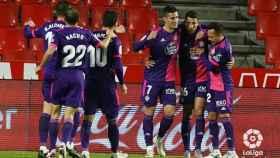 El Valladolid celebra uno de sus goles ante el Granada