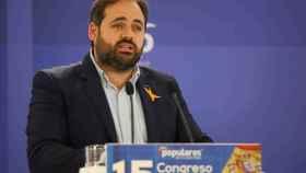 El presidente del PP de Castilla-La Mancha, Paco Núñez, este domingo en el Congreso del PP de Ciudad Real