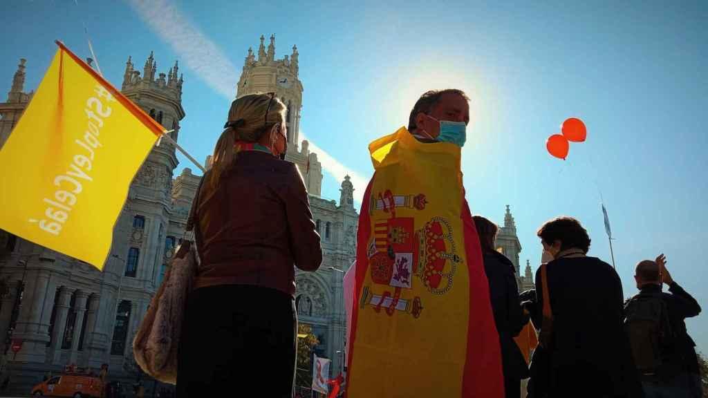 Varios manifestantes contra la Ley Celaá de Educación escuchan el manifiesto leído en la plaza de Cibeles (Madrid).