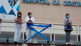 Miembros del personal del Hospital da Costa, en Burela, Lugo.