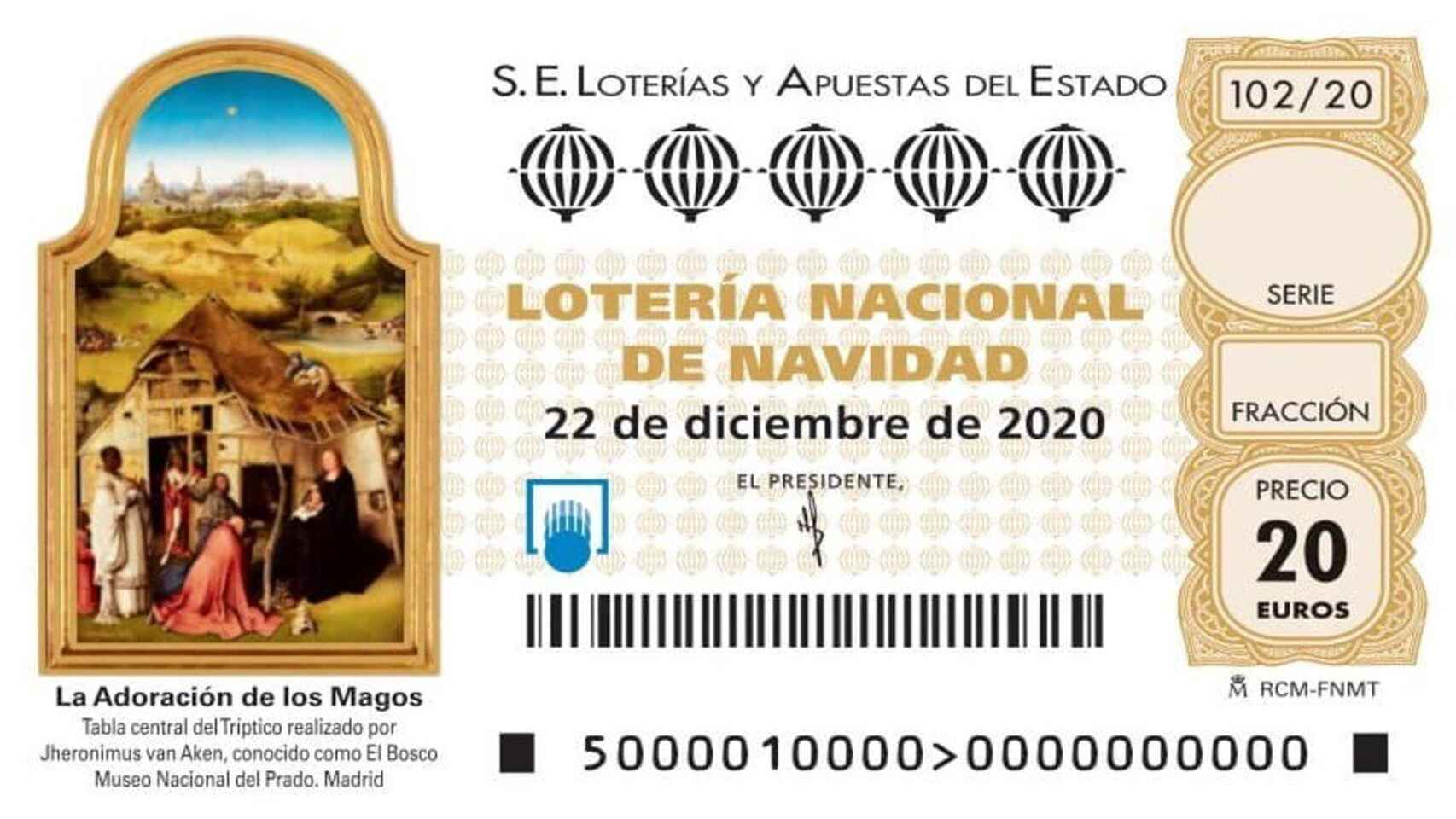 Billete lotería navidad año 2020