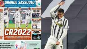La portada de Tuttosport y Cristiano Ronaldo celebrando un gol en un fotomontaje