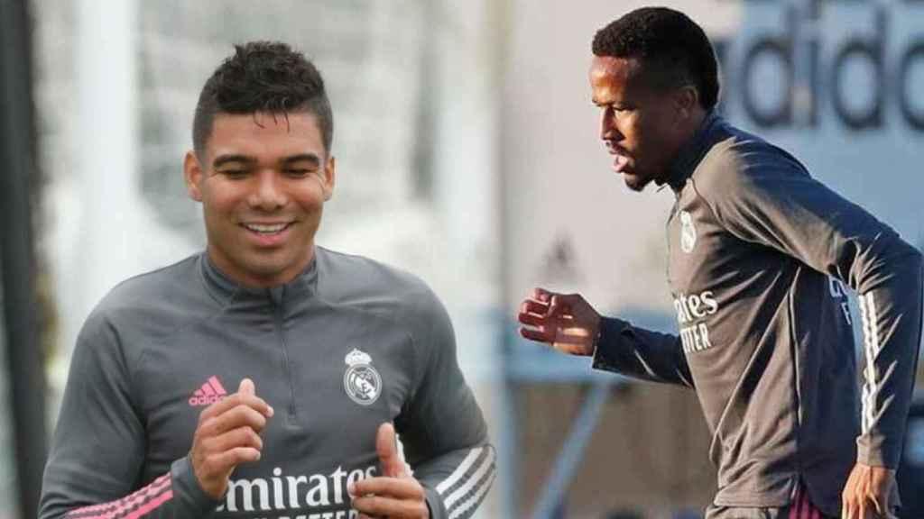 Casemiro y Eder Militao, durante un entrenamiento del Real Madrid