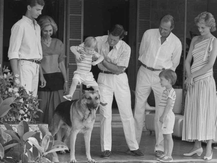 El príncipe de Gales toma en brazos a su hijo Harry y lo pone encima de Arky, el perro del rey Juan Carlos.