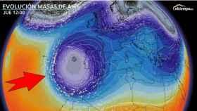 Evolución de las masas de aire de cara al jueves 26. Eltiempo.es.