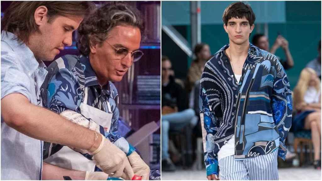 A la izquierda, Josie con camisa de Hermès. A la derecha, modelo en el desfile de Hermès luciendo la camisa perteneciente a la colección Primavera-Verano 2020.