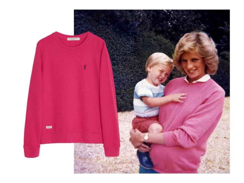Imita el estilo de Diana de Gales, que adoraba su sudadera rosa.