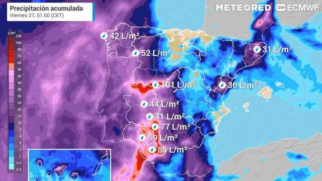 Lluvias previstas hasta la noche del jueves, con acumulados importantes en el centro y suroeste peninsular. Meteored.