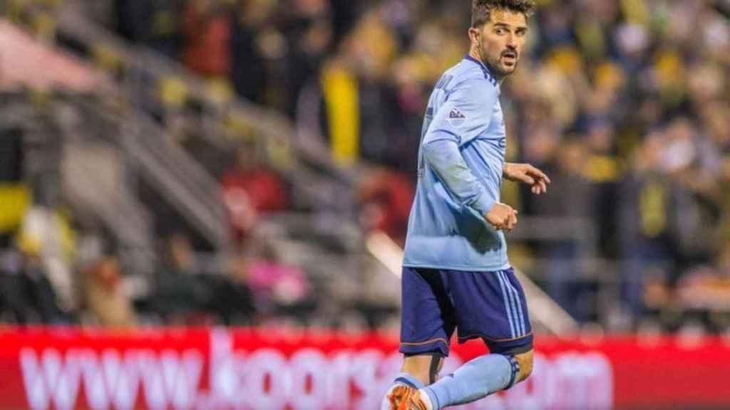 David Villa durante un partido con el New York City