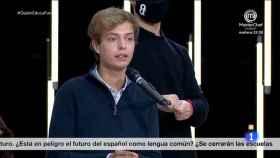 El joven durante su intervención en el debate.