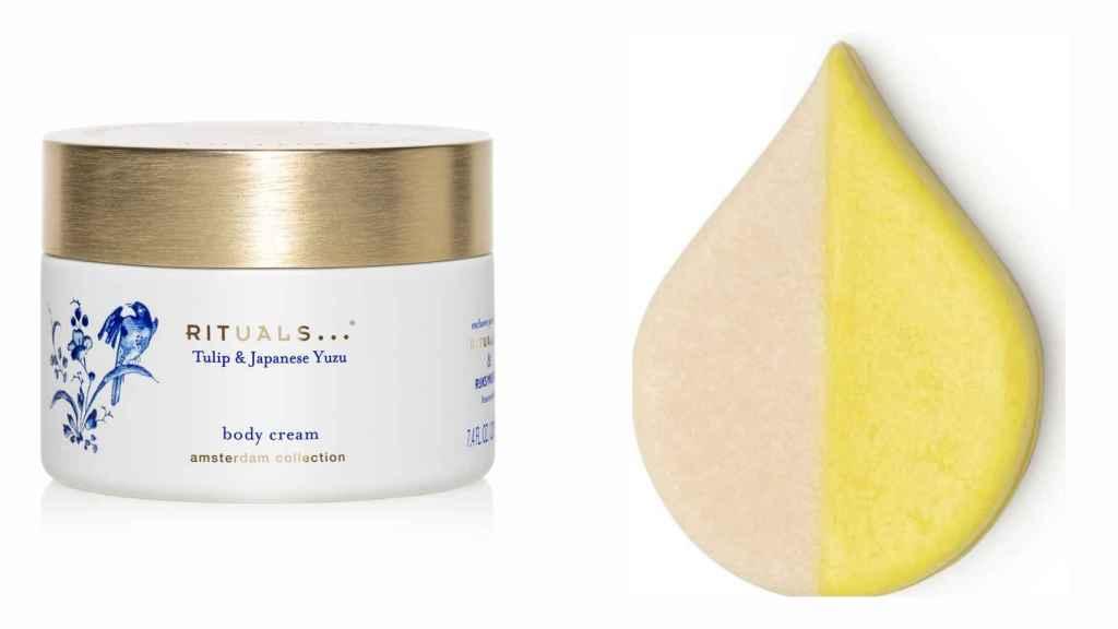 A la izquierda, destaca la crema corporal de Rituals, mientras que a la derecha, se encuentra el jabón de ducha de Lush.
