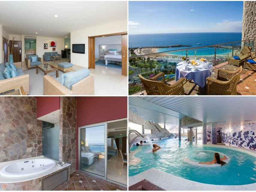 Algunas de las estancias de la Suite Presidencial que disfruta Paz Padilla, y la zona de Spa a la que tiene acceso.