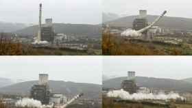 Impresionantes imágenes de la demolición de la chimenea de la central térmica de Anllares 8