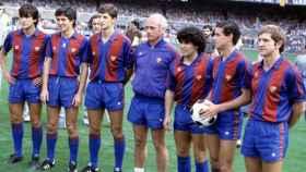 De izquierda a derecha: Marcos Alonso, Pichi Alonso, Urbano, Udo Lattek, Diego Armando Maradona, Julio Alberto y Perico Alonso