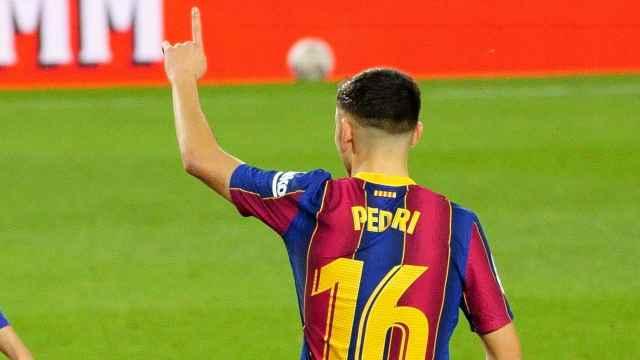 Pedri González celebra un gol con la camiseta del Barça