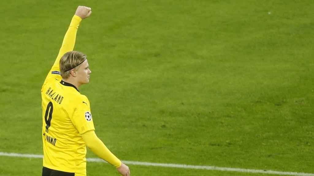 Erling Haaland, en un partido del Borussia Dortmund en la Champions 2020/2021