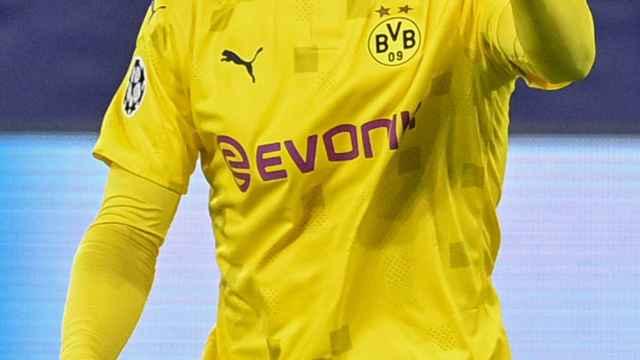 Erling Haaland celebra un gol con el Borussia Dortmund en la Champions League