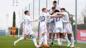 El Real Madrid Castilla celebra un gol