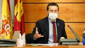 José Luis Escudero, consejero de Desarrollo Sostenible de Castilla-La Mancha, este miércoles en comparecencia en las Cortes regionales