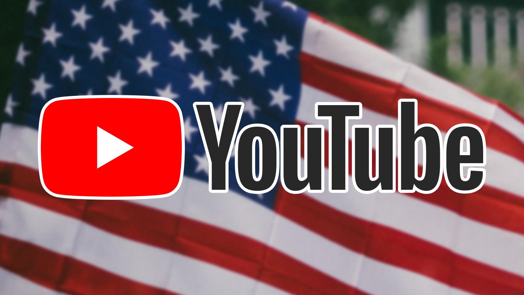 Logo de YouTube y bandera americana