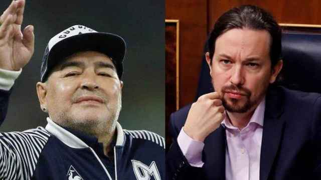Maradona y Pablo Iglesias en un fotomontaje.