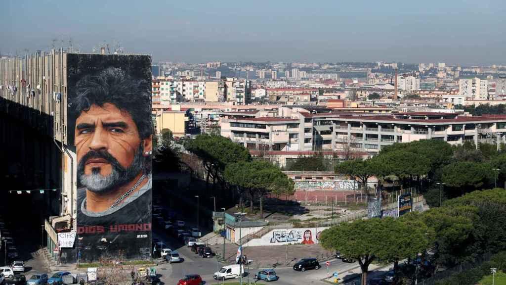 Un mural de Diego Armando Maradona en Buenos Aires