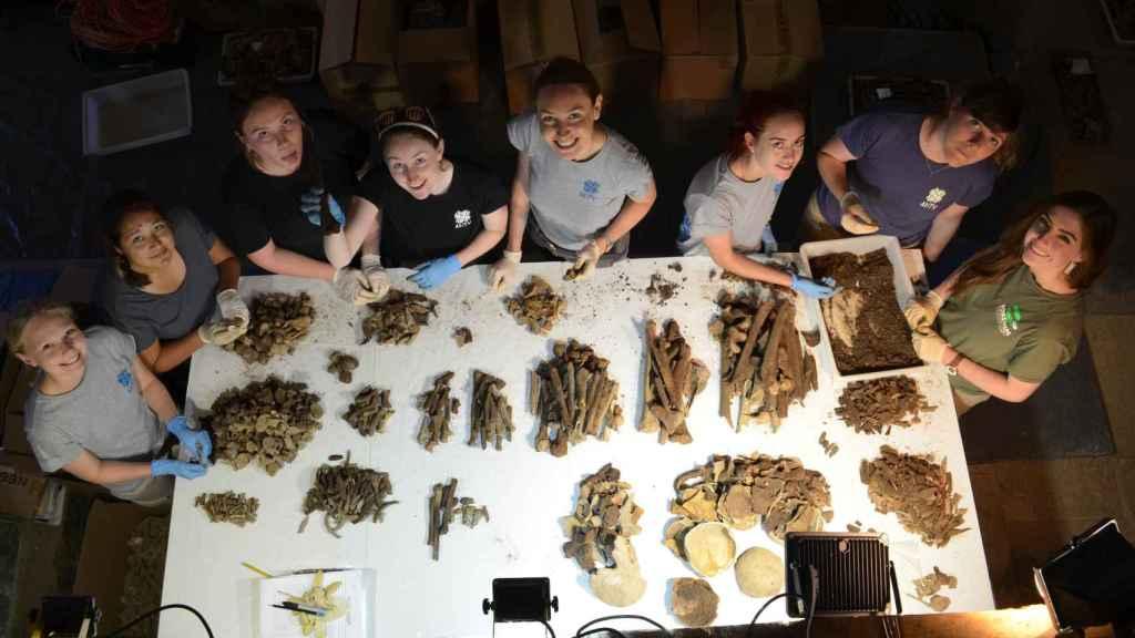 Un grupo de investigadoras del proyecto, inventariando restos humanos.
