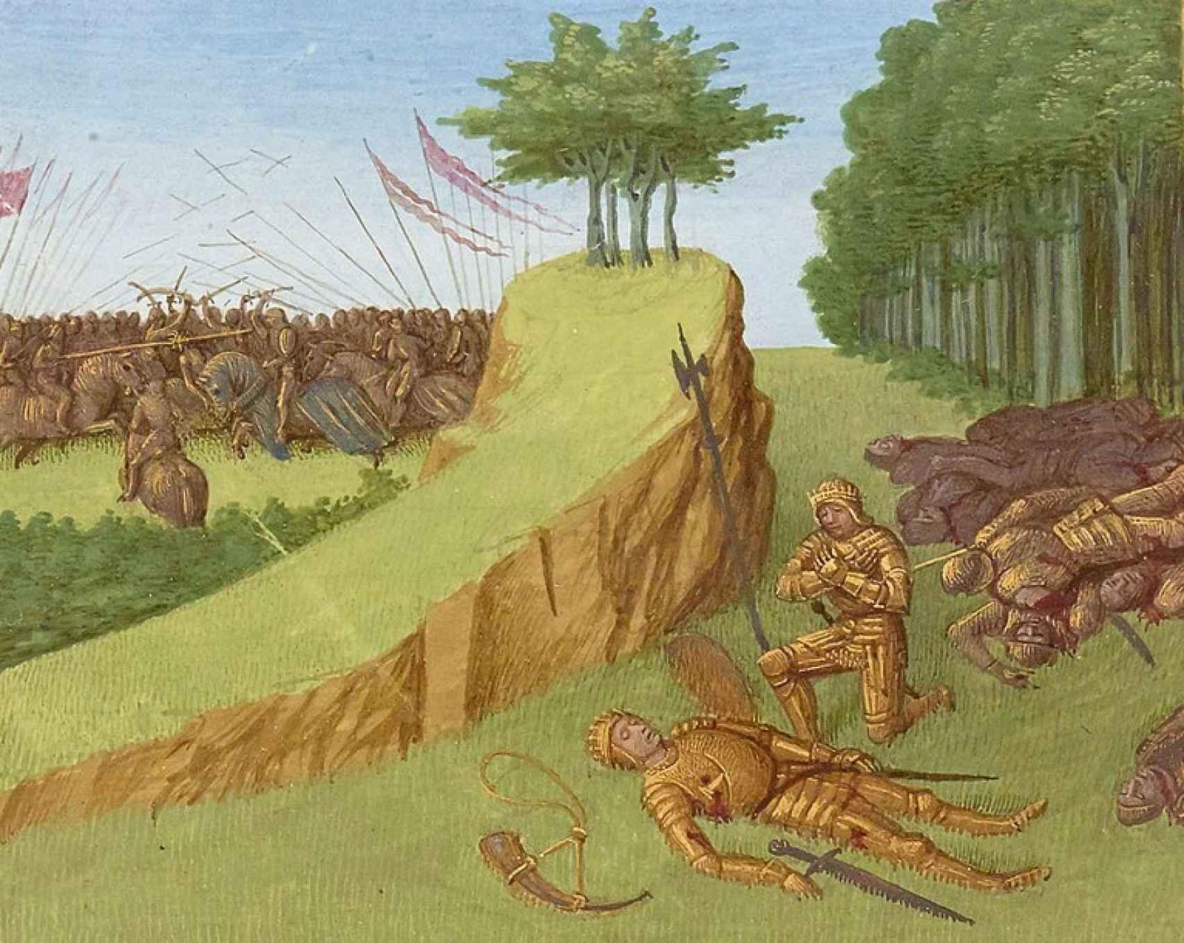 Muerte de Roldán en la batalla de Roncesvalles según una ilustración del siglo XV de Jean Fouquet.