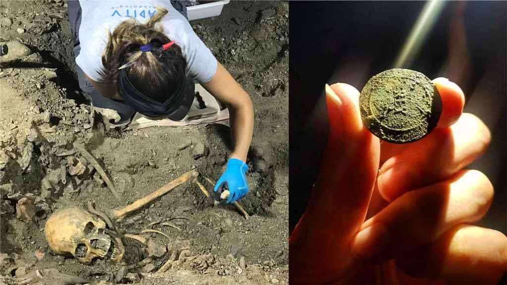 El cadáver del soldado español y el botón que ha permitido identificar el regimiento al que pertenecía.