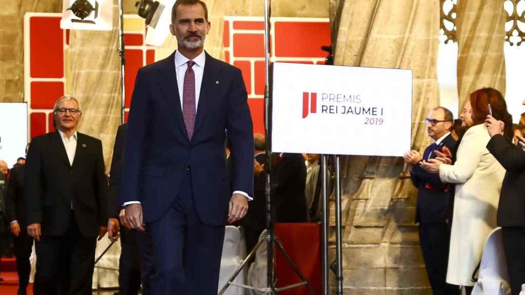 El rey Felipe VI, en los Premios Ray Jaime I el año pasado sin Letizia.