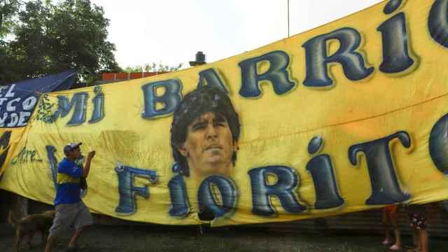 Homenaje a Maradona en Villa Fiorito