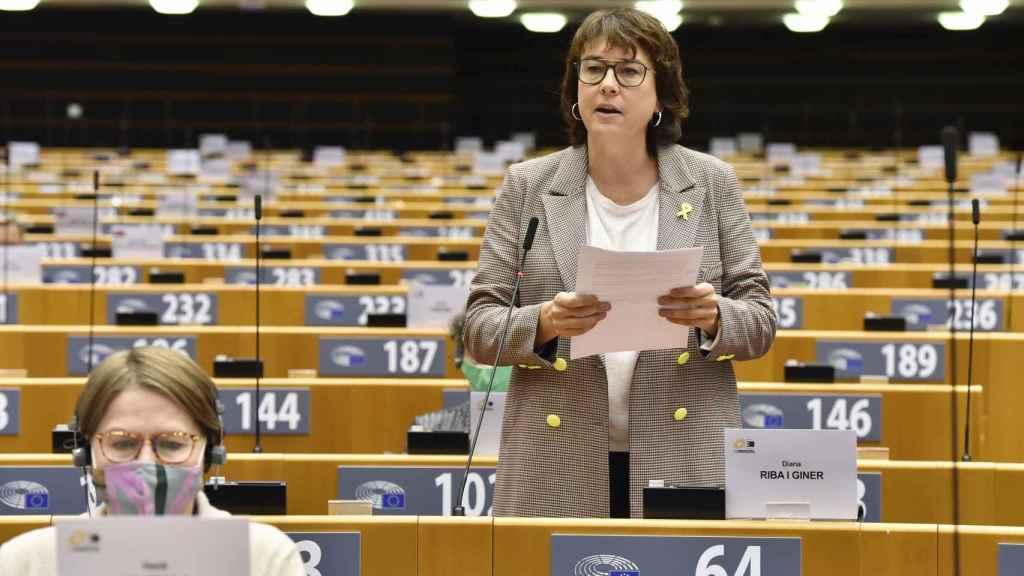 La eurodiputada de ERC, Diana Riba, durante los debates en la Eurocámara de esta semana