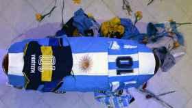 El ataúd de Diego Armando Maradona en la Casa Rosada