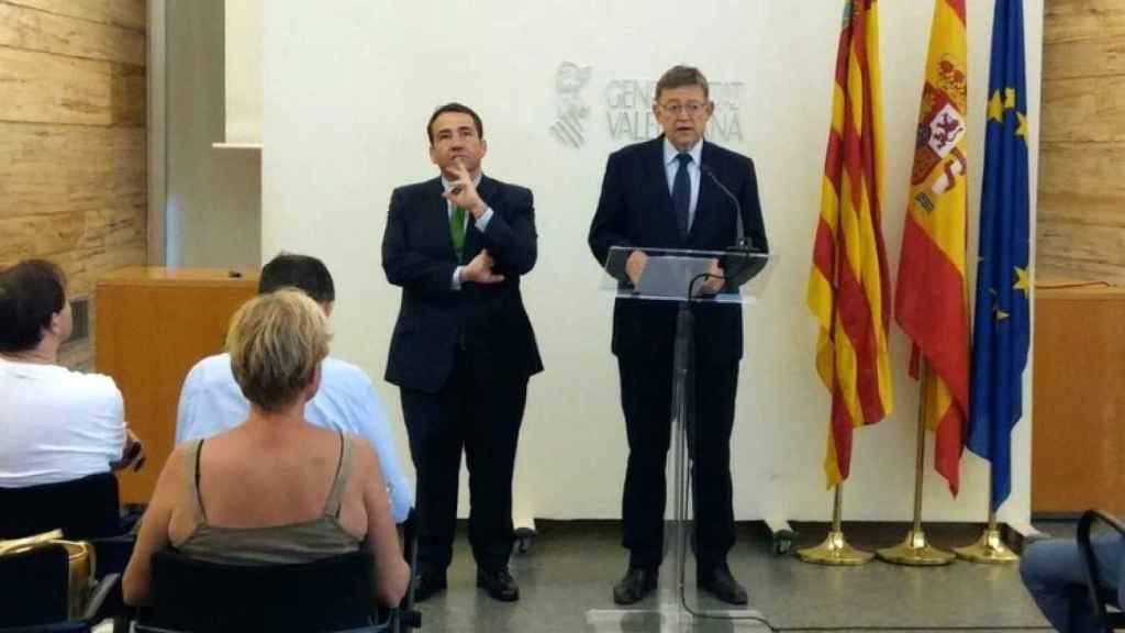 Manuel Illueca, director general del IVF, y Ximo Puig, presidente de la Comunidad Valenciana.