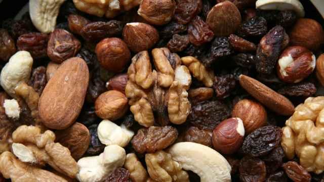 Una mezcla preparada de frutos secos.