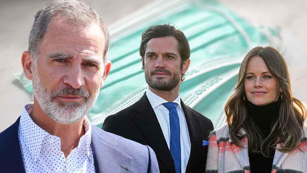 El rey Felipe y los príncipes de Suecia, Carlos Felipe y Sofía, en un fotomontaje de JALEOS.